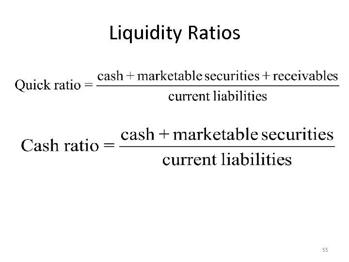 Liquidity Ratios 55
