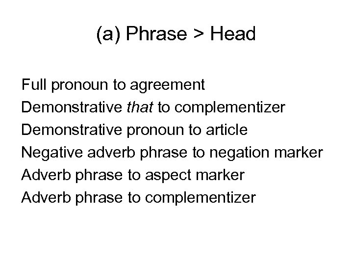 (a) Phrase > Head Full pronoun to agreement Demonstrative that to complementizer Demonstrative pronoun
