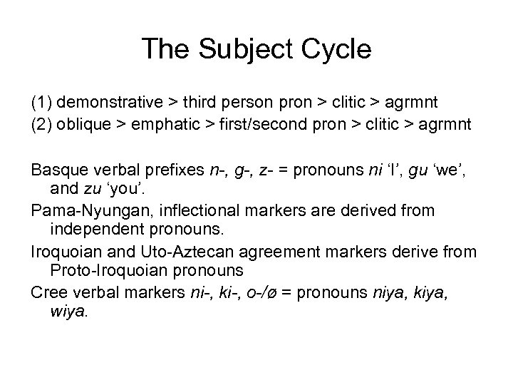 The Subject Cycle (1) demonstrative > third person pron > clitic > agrmnt (2)