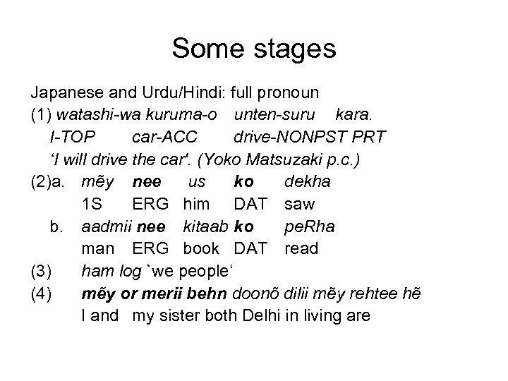 Some stages Japanese and Urdu/Hindi: full pronoun (1) watashi-wa kuruma-o unten-suru kara. I-TOP car-ACC