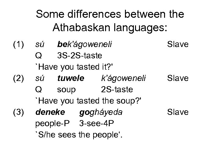 Some differences between the Athabaskan languages: (1) (2) (3) sú bek'ágoweneli Q 3 S-2