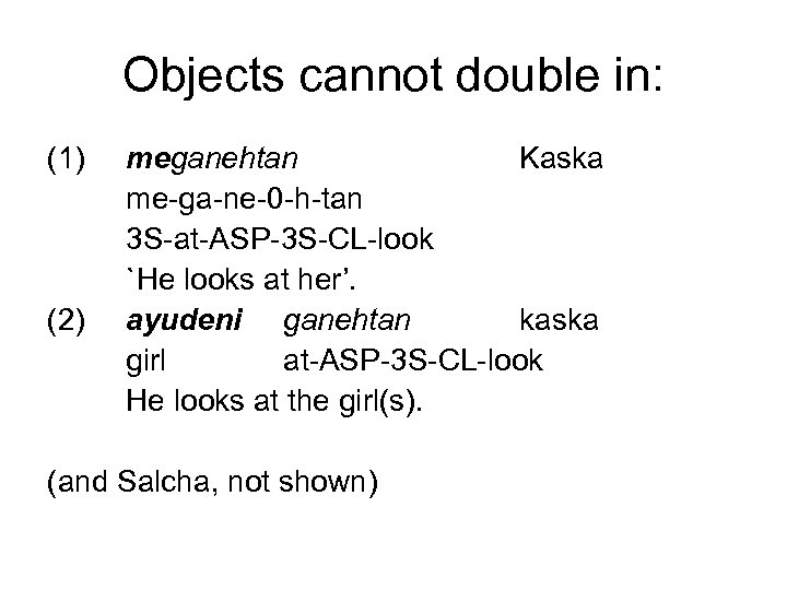 Objects cannot double in: (1) (2) meganehtan Kaska me-ga-ne-0 -h-tan 3 S-at-ASP-3 S-CL-look `He