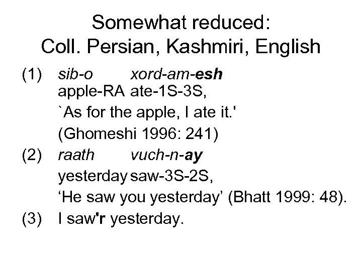 Somewhat reduced: Coll. Persian, Kashmiri, English (1) (2) (3) sib-o xord-am-esh apple-RA ate-1 S-3