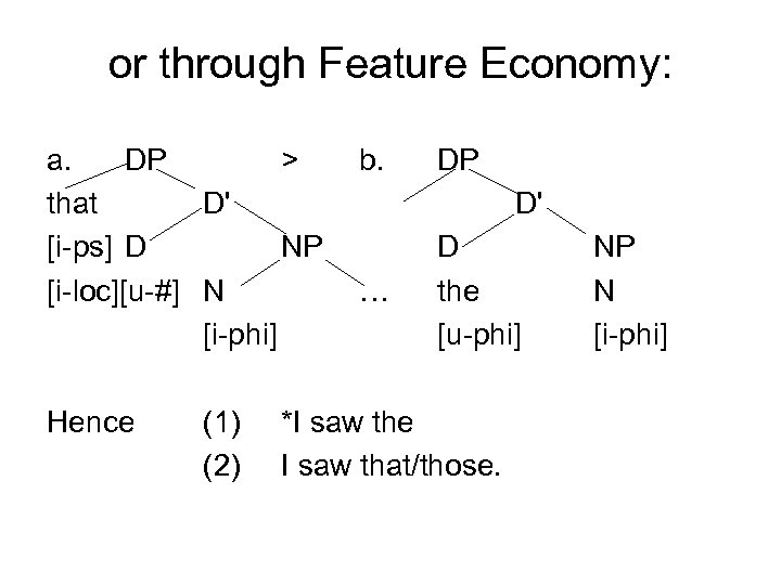 or through Feature Economy: a. DP > that D' [i-ps] D NP [i-loc][u-#] N