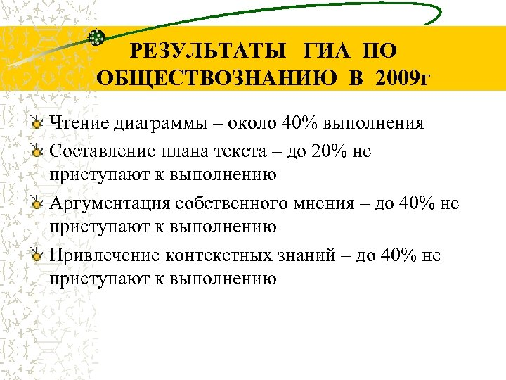РЕЗУЛЬТАТЫ ГИА ПО ОБЩЕСТВОЗНАНИЮ В 2009 г Чтение диаграммы – около 40% выполнения Составление