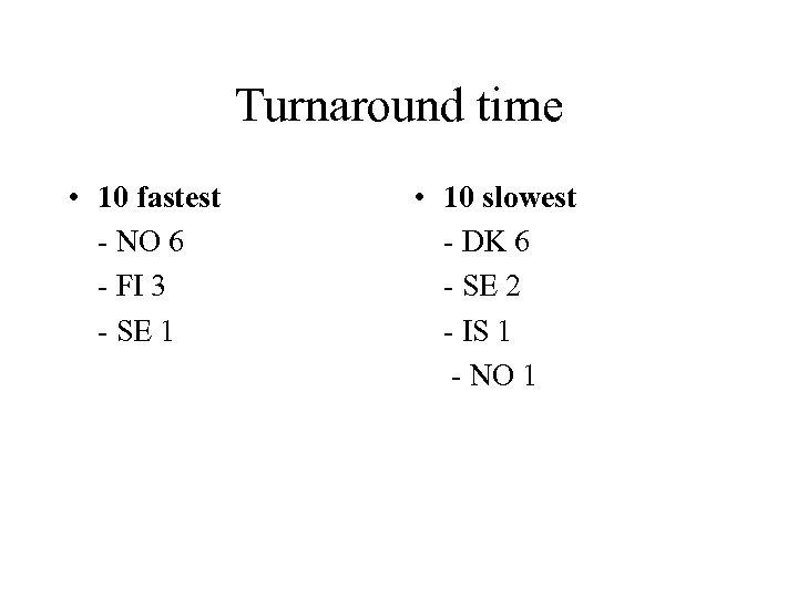 Turnaround time • 10 fastest - NO 6 - FI 3 - SE 1