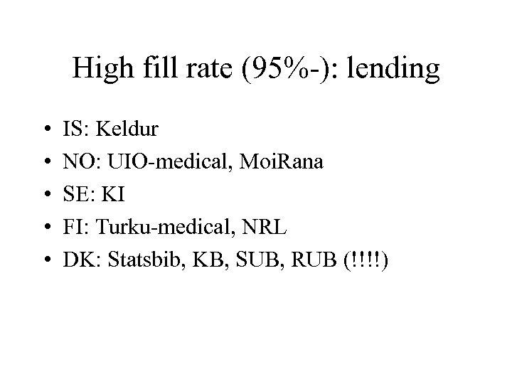 High fill rate (95%-): lending • • • IS: Keldur NO: UIO-medical, Moi. Rana