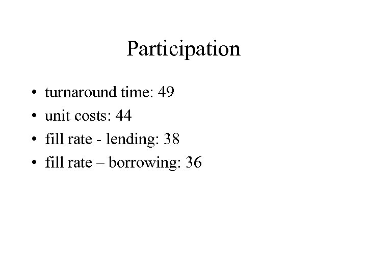 Participation • • turnaround time: 49 unit costs: 44 fill rate - lending: 38