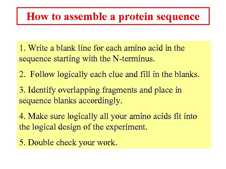 How to assemble a protein sequence 1. Write a blank line for each amino