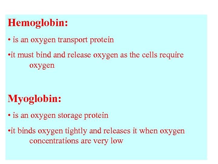 Hemoglobin: • is an oxygen transport protein • it must bind and release oxygen
