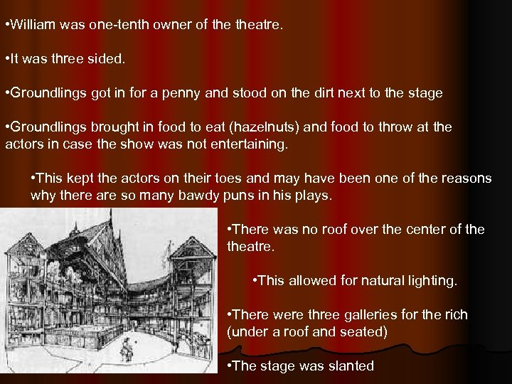 • William was one-tenth owner of theatre. • It was three sided. •