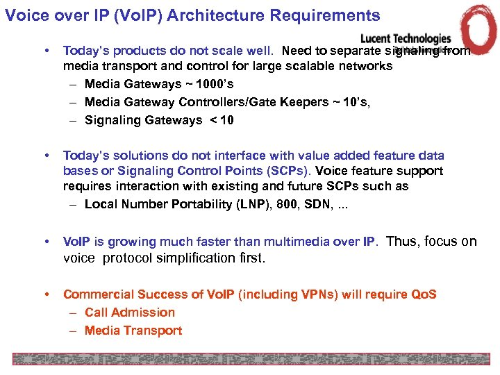Voice over IP (Vo. IP) Architecture Requirements • Today's products do not scale well.