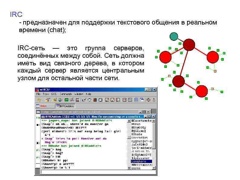 IRC - предназначен для поддержки текстового общения в реальном времени (chat); IRC-сеть — это