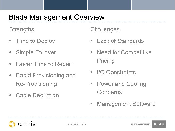 Blade Management Overview Strengths Challenges • Time to Deploy • Lack of Standards •