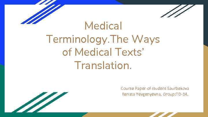 paper on medical terminology medical terminology kanzata a pendell medical terminology in this paper i will define what medical terminology is, where it came from, and the importance of correct knowledge of medical terminology.