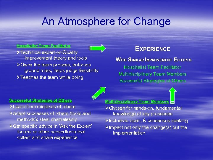 An Atmosphere for Change Hospitalist Team Facilitator Technical expert on Quality Improvement theory and