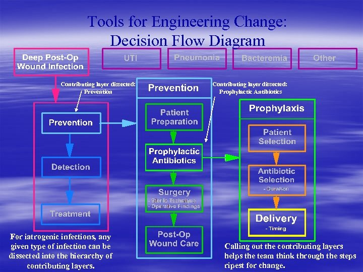 Tools for Engineering Change: Decision Flow Diagram Contributing layer dissected: Prevention For iatrogenic infections,
