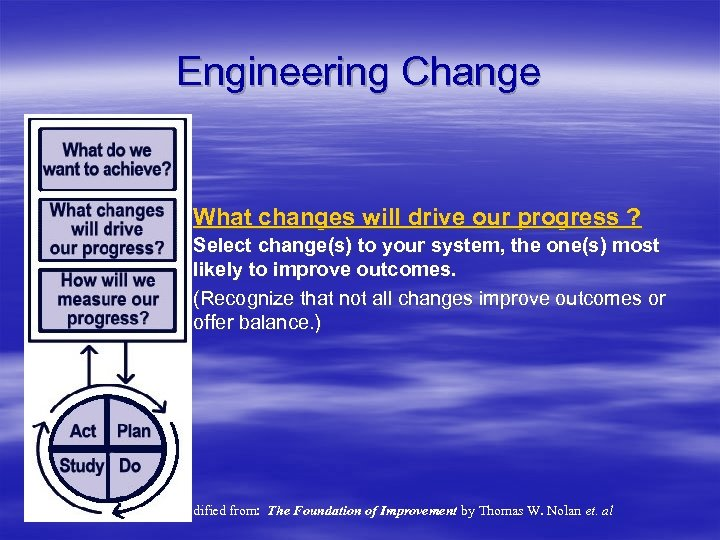 Engineering Change What changes will drive our progress ? Select change(s) to your system,
