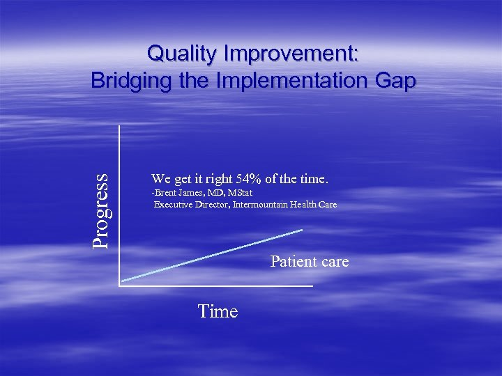 Progress Quality Improvement: Bridging the Implementation Gap We get it right 54% of the