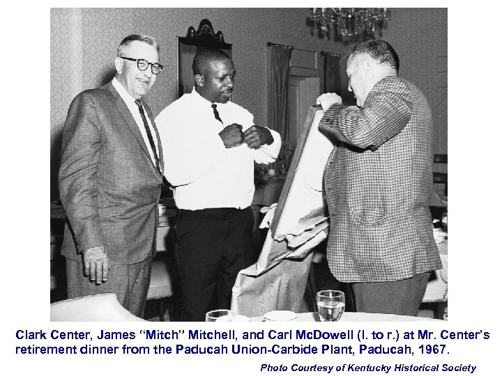 """Clark Center, James """"Mitch"""" Mitchell, and Carl Mc. Dowell (l. to r. ) at"""