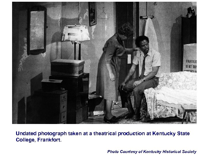 Undated photograph taken at a theatrical production at Kentucky State College, Frankfort. Photo Courtesy