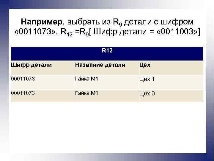 Например, выбрать из R 9 детали с шифром « 0011073» . R 12 =R