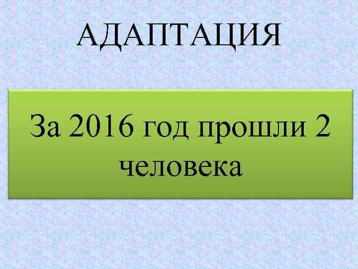 АДАПТАЦИЯ За 2016 год прошли 2 человека