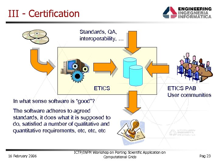 "III - Certification Standards, QA, interoperability, … ETICS In what sense software is ""good""?"