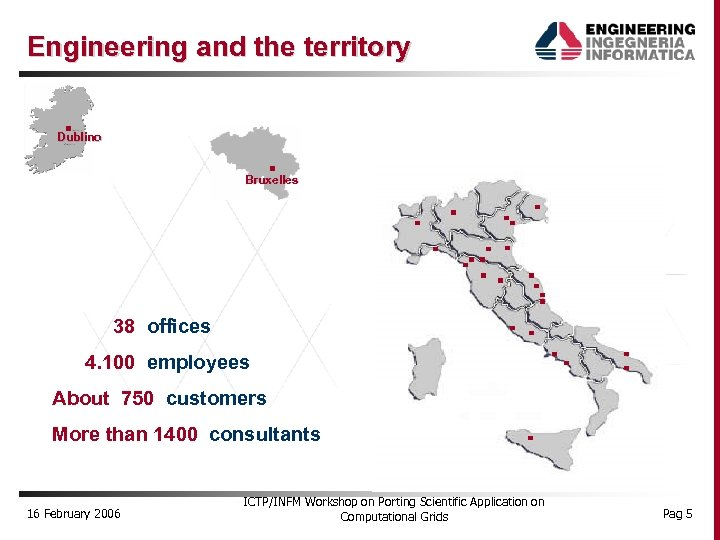 Engineering and the territory Dublino Bruxelles 38 offices 4. 100 employees About 750 customers