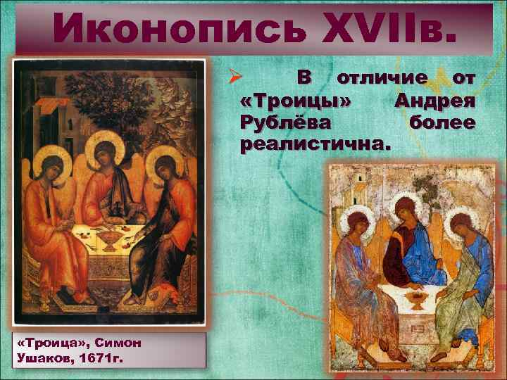 Иконопись XVIIв. В отличие от «Троицы» Андрея Рублёва более реалистична. Ø «Троица» , Симон