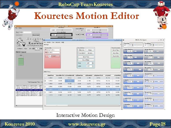 Robo. Cup Team Kouretes Motion Editor Interactive Motion Design Kouretes 2010 www. kouretes. gr