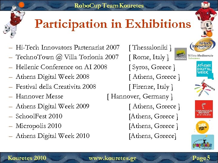 Robo. Cup Team Kouretes Participation in Exhibitions – – – – – Hi-Tech Innovators