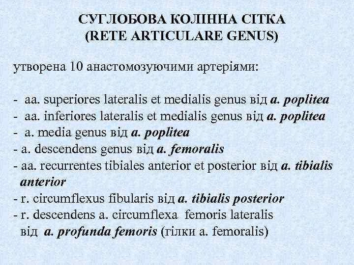 СУГЛОБОВА КОЛІННА СІТКА (RETE ARTICULARE GENUS) утворена 10 анастомозуючими артеріями: - aa. superiores lateralis