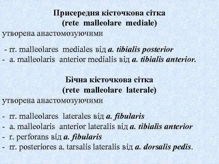 Присередня кісточкова сітка (rete malleolare mediale) утворена анастомозуючими - rr. malleolares mediales від a.
