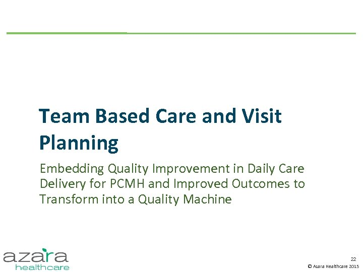 Team Based Care and Visit Planning Embedding Quality Improvement in Daily Care Delivery for