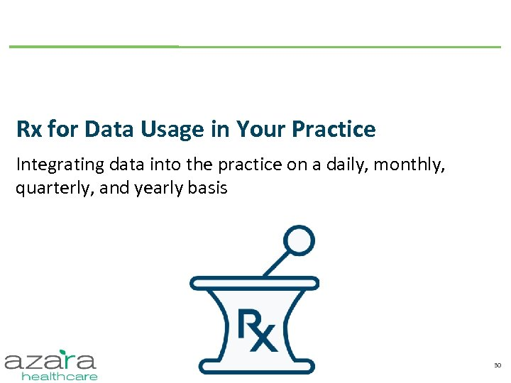 Rx for Data Usage in Your Practice Integrating data into the practice on a