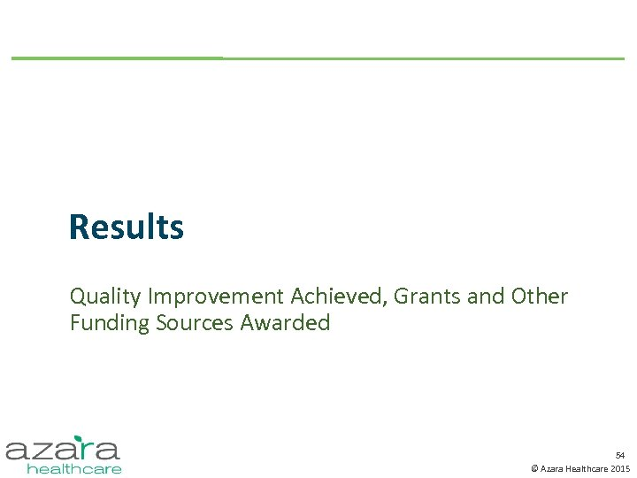 Results Quality Improvement Achieved, Grants and Other Funding Sources Awarded 54 © Azara Healthcare