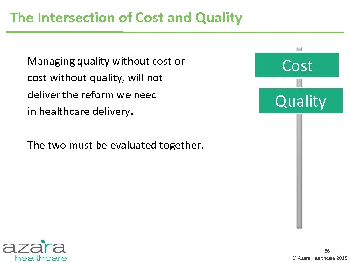 The Intersection of Cost and Quality Managing quality without cost or cost without quality,