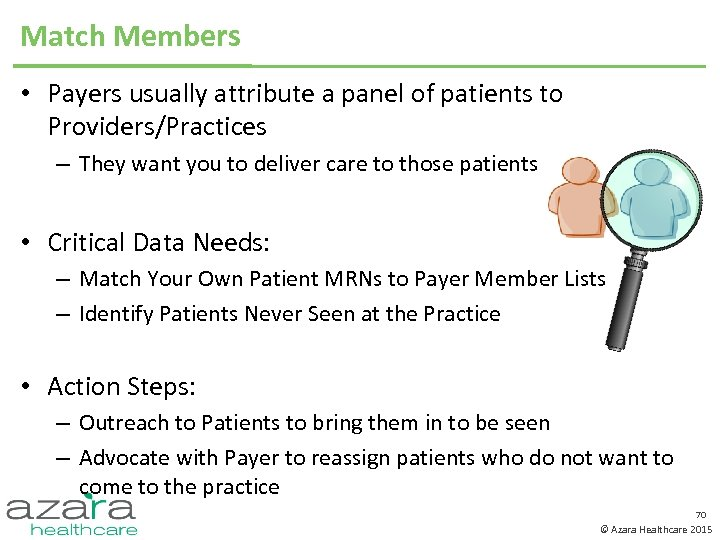 Match Members • Payers usually attribute a panel of patients to Providers/Practices – They