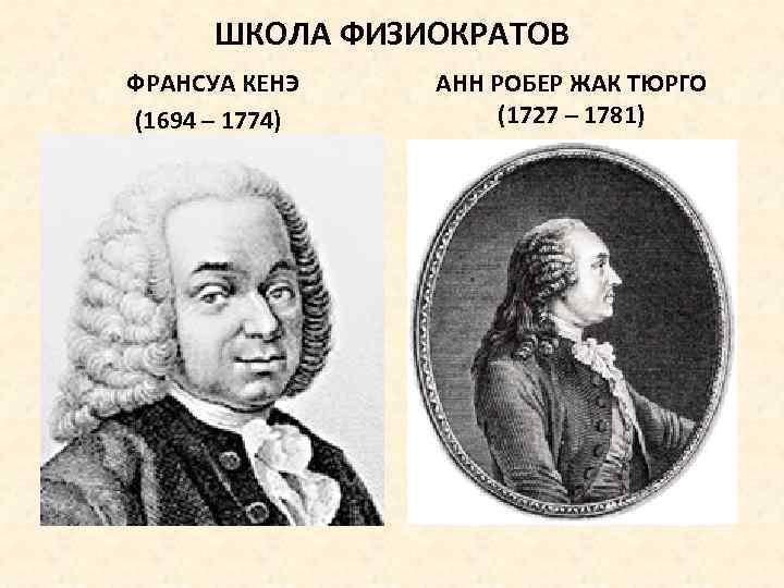 ШКОЛА ФИЗИОКРАТОВ ФРАНСУА КЕНЭ (1694 – 1774) АНН РОБЕР ЖАК ТЮРГО (1727 – 1781)