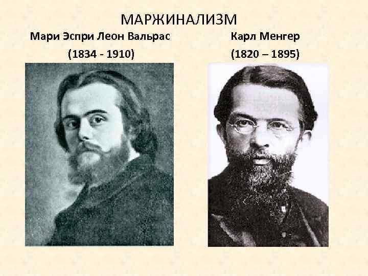МАРЖИНАЛИЗМ Мари Эспри Леон Вальрас (1834 - 1910) Карл Менгер (1820 – 1895)