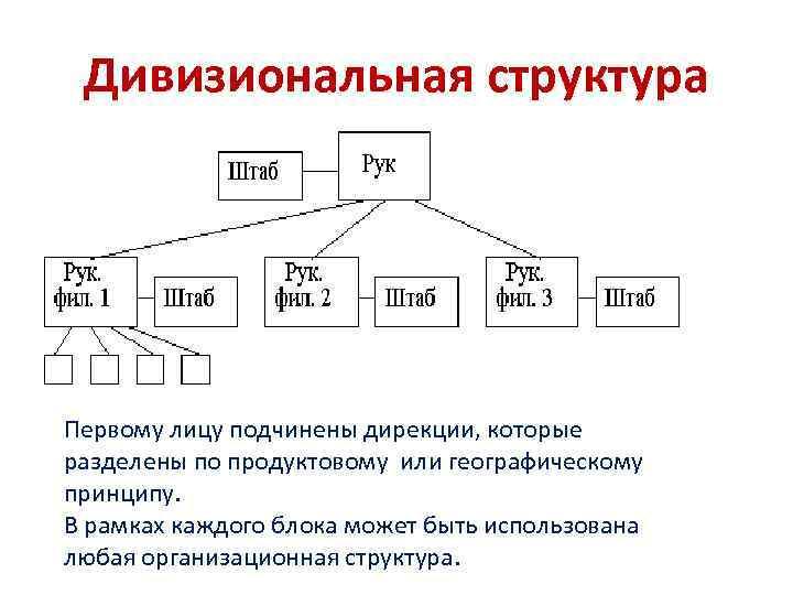 Дивизиональная структура Первому лицу подчинены дирекции, которые разделены по продуктовому или географическому принципу. В