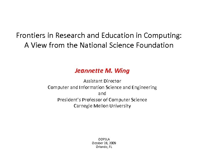 Frontiers in Research and Education in Computing: A View from the National Science Foundation