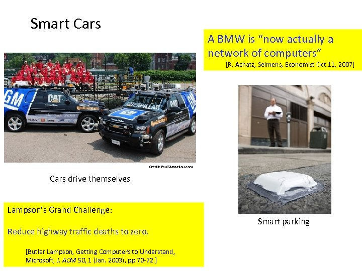 "Smart Cars A BMW is ""now actually a network of computers"" [R. Achatz, Seimens,"