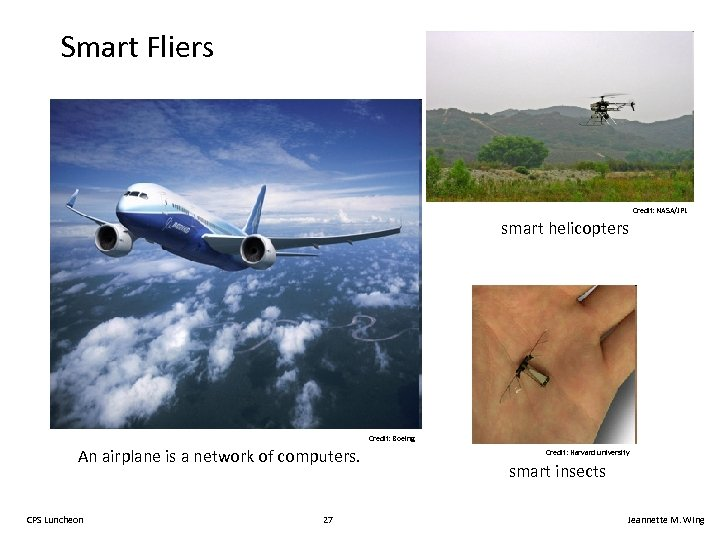 Smart Fliers Credit: NASA/JPL smart helicopters Credit: Boeing An airplane is a network of