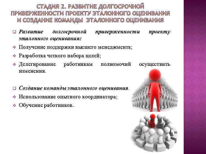 q v v Развитие долгосрочной приверженности эталонного оценивания: Получение поддержки высшего менеджмента; Разработка четкого