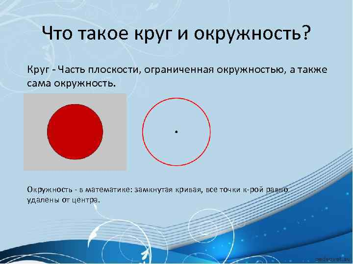 Что такое круг и окружность? Круг - Часть плоскости, ограниченная окружностью, а также сама