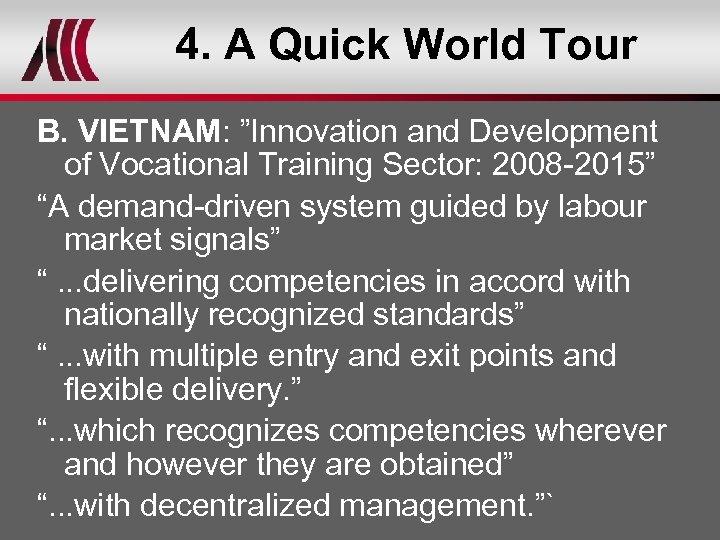 "4. A Quick World Tour B. VIETNAM: ""Innovation and Development of Vocational Training Sector:"