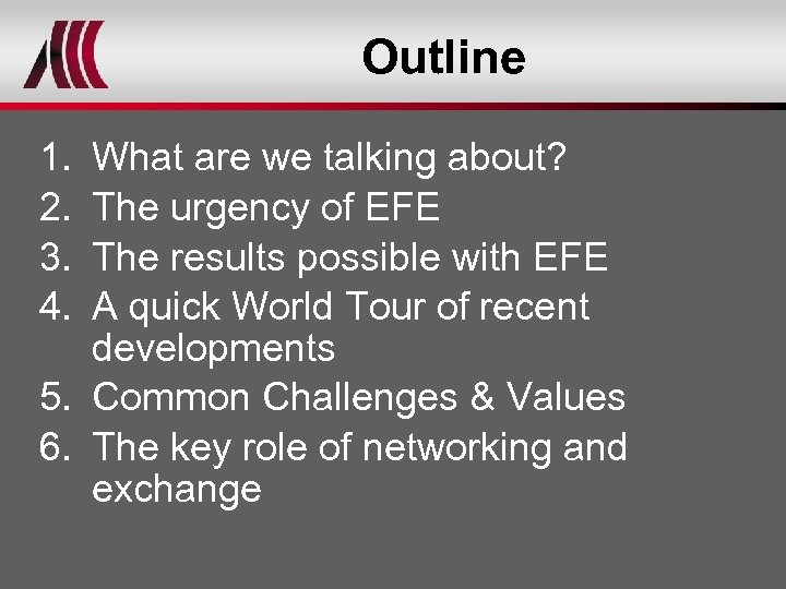 Outline 1. 2. 3. 4. What are we talking about? The urgency of EFE