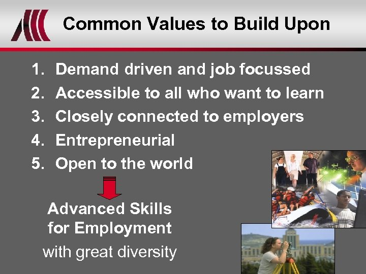 Common Values to Build Upon 1. 2. 3. 4. 5. Demand driven and job